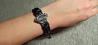 СУПЕРМЕН. Черный кожаный браслет на руку, ручная работа