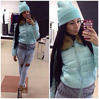 Женская модная  куртка с элементами вязки (расцветки), фото 1