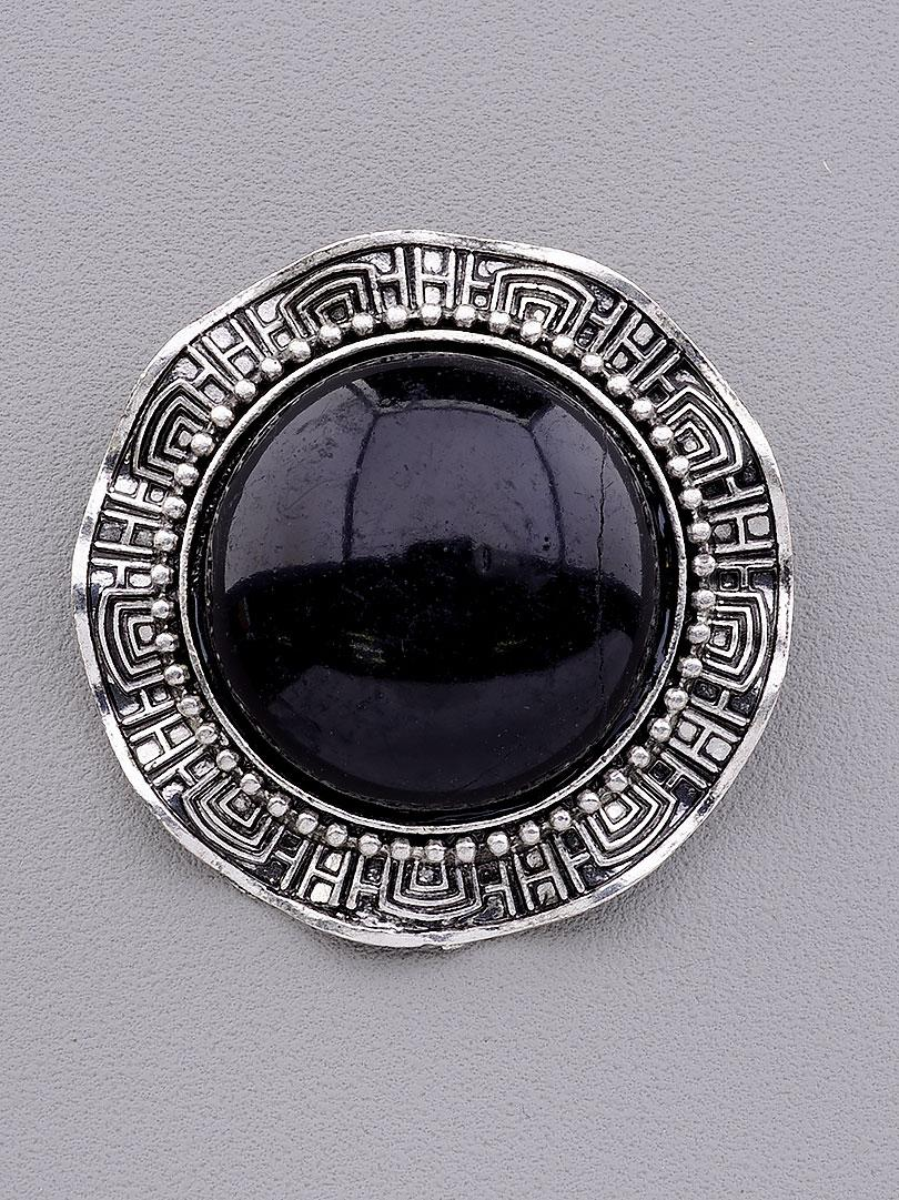 Брошь на одежду круглой формы серебристый цвет с чёрным камнем агат 40x40мм