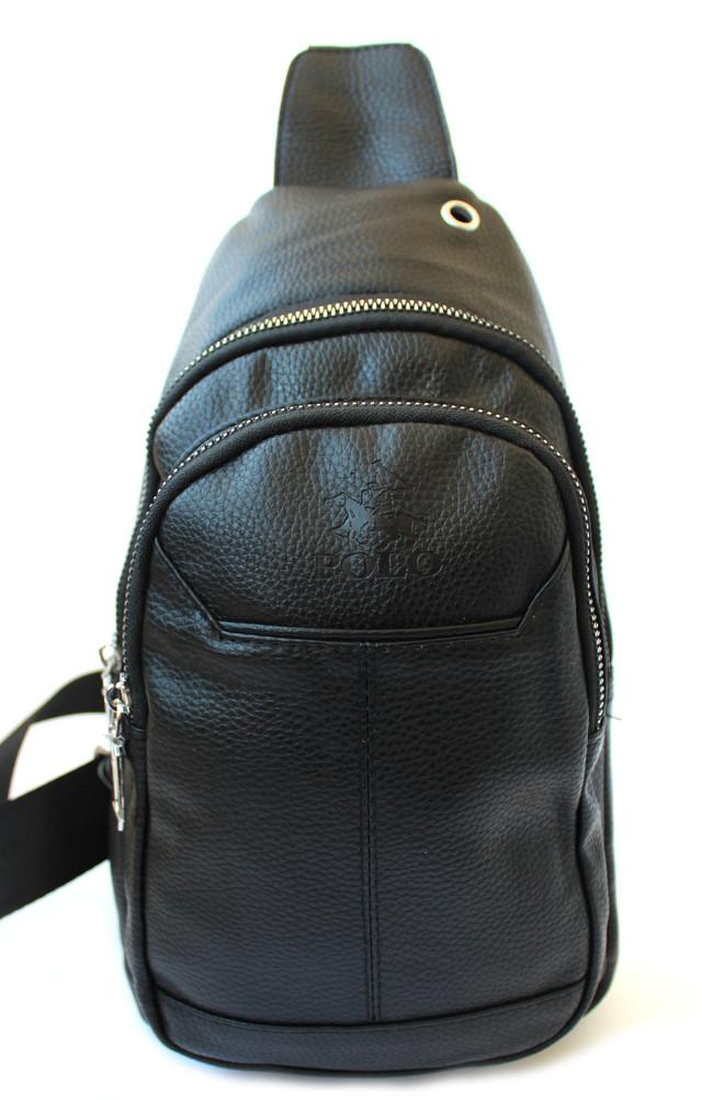 Мужская сумка-слинг через плечо, из кожзама