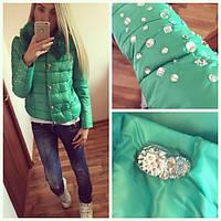 """Женская модная  куртка """"Черепки со стразами"""" евро-зима (3 цвета), фото 1"""