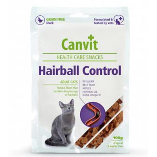 Полувлажное лакомство Canvit Hairball Control для выведения шерсти из желудка для кошек, 100 г