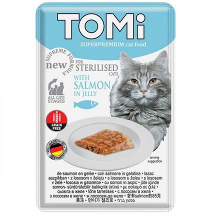 Консерви Tomi Sterilised Salmon in Jelly лосось в желе, суперпреміум, для стерилізованих кішок і кастрованих котів, пауч, 85 г, фото 2