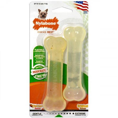 Жевательная игрушка Nylabone Flexi Chew Twin Pack кость для собак с умеренным стилем грызения, два вкуса