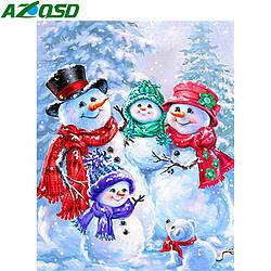 Алмазная мозайка Diy Семья снеговиков 40х30см. Зимний пейзаж, квадр стразы, 40 цветов, полная зашивка