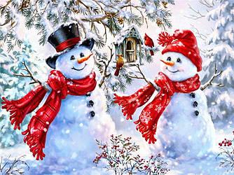 Алмазная мозайка Diy Снеговики 40х30см. Новогодний зимний пейзаж, квадр стразы, 40 цветов, полная зашивка