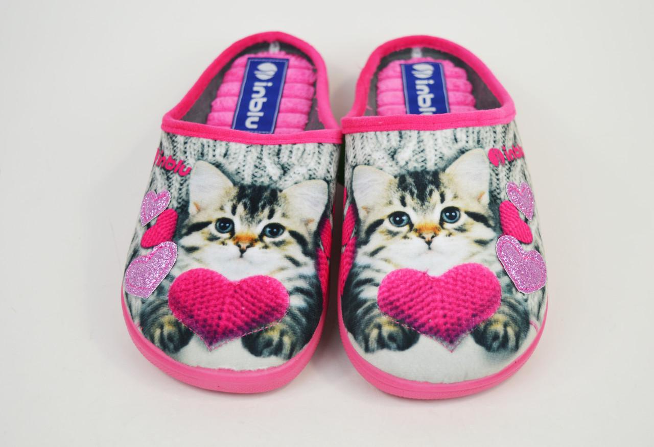 Тапочки женские с кошкой Inblu ES5B розово-бежевые