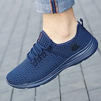 Кроссовки мужские синие летние сетка (код 7135) - чоловічі кросівки сині літні сітка