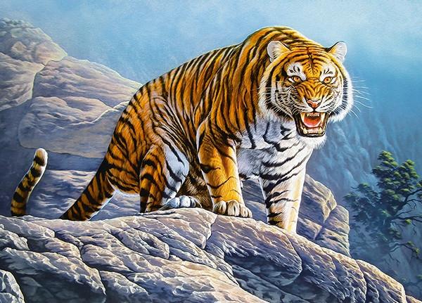 Пазлы Тигр на скале на 180 элементов