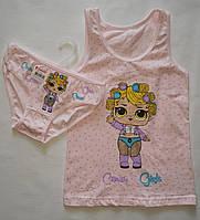 Детский комплект белья трусики и маечка  на девочку Donella розовый LOL.4-5 лет.