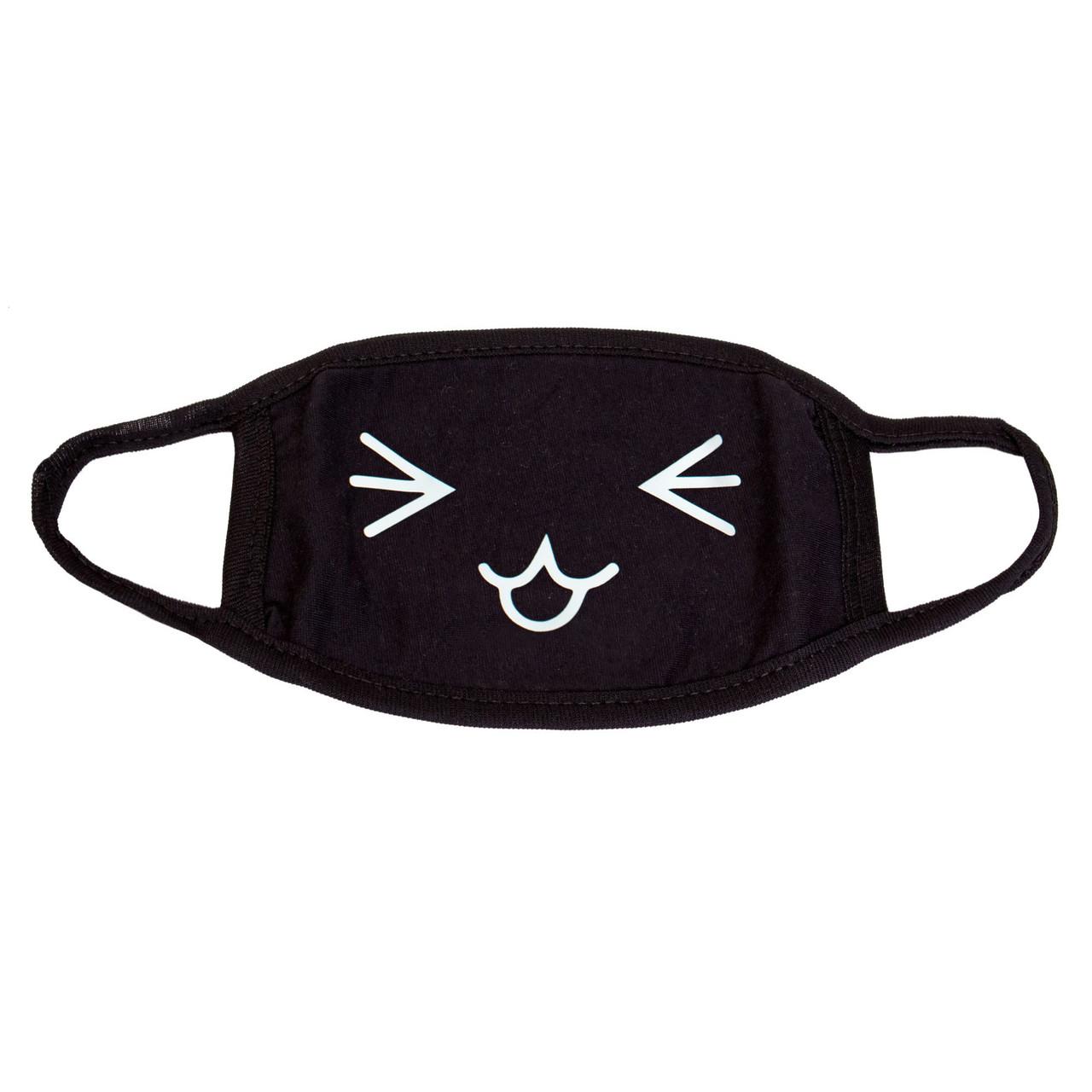 Маска черная защитная Смущающийся Котик