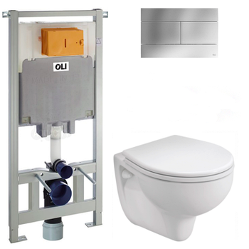 Комплект ІДОЛ+ОЛІ 80 (чаша підвісна+сидіння+інстал ОЛІ+кнопка Слім хр)