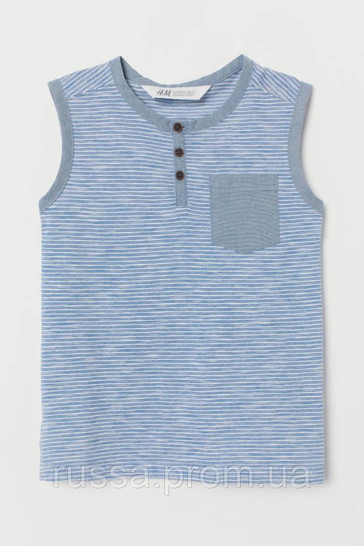 Летняя трикотажная майка футболка на пуговичках для мальчика