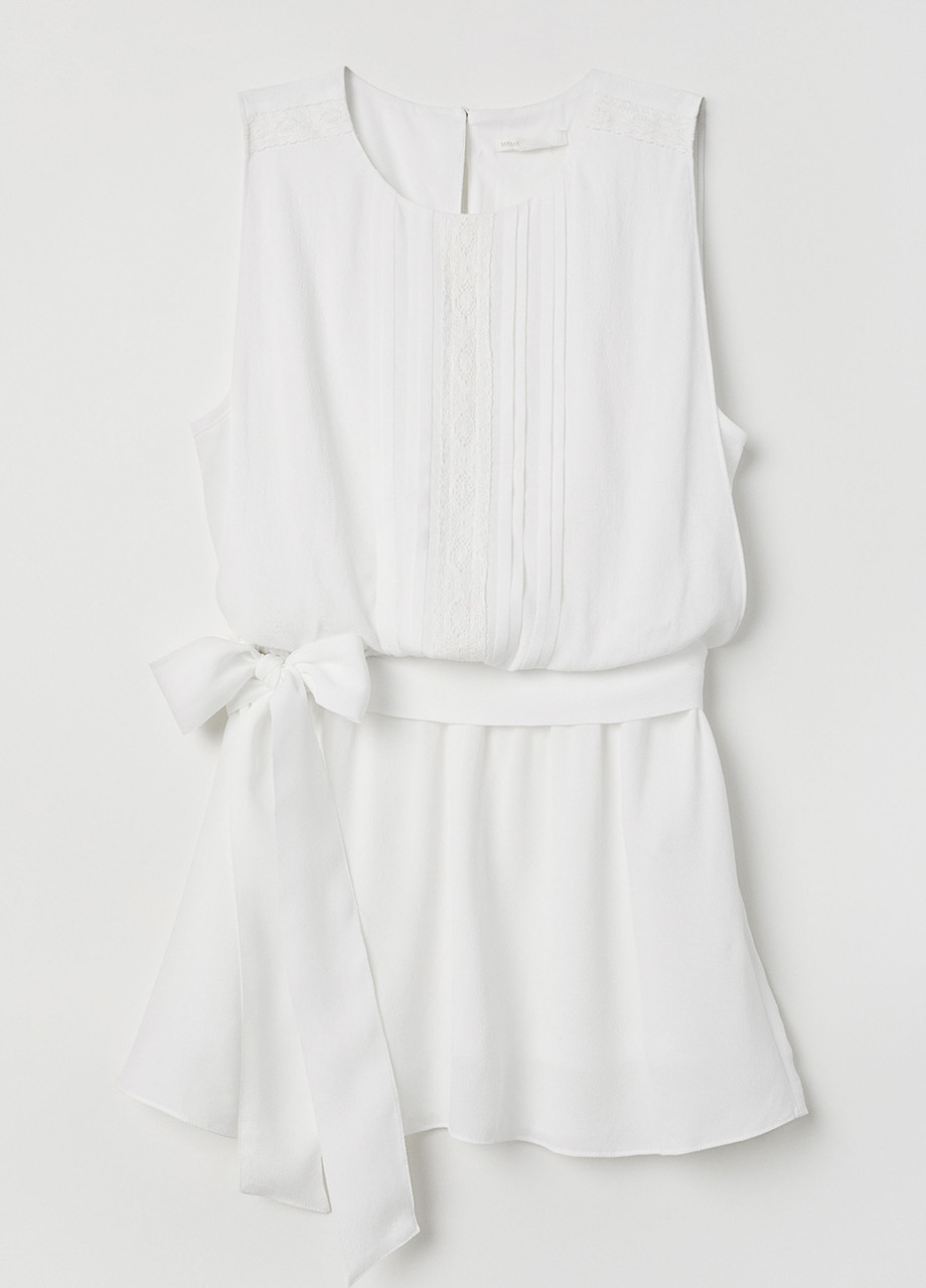Молочная однотонная блузка H&M летняя XL
