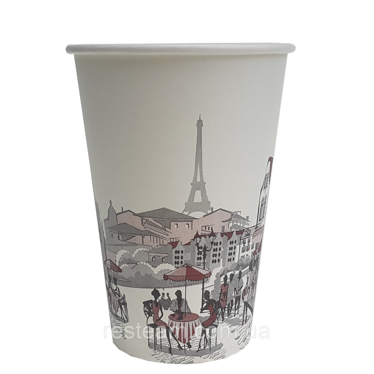Стакан одноразовый бумажный чайный 340мл Ж, 50шт/уп
