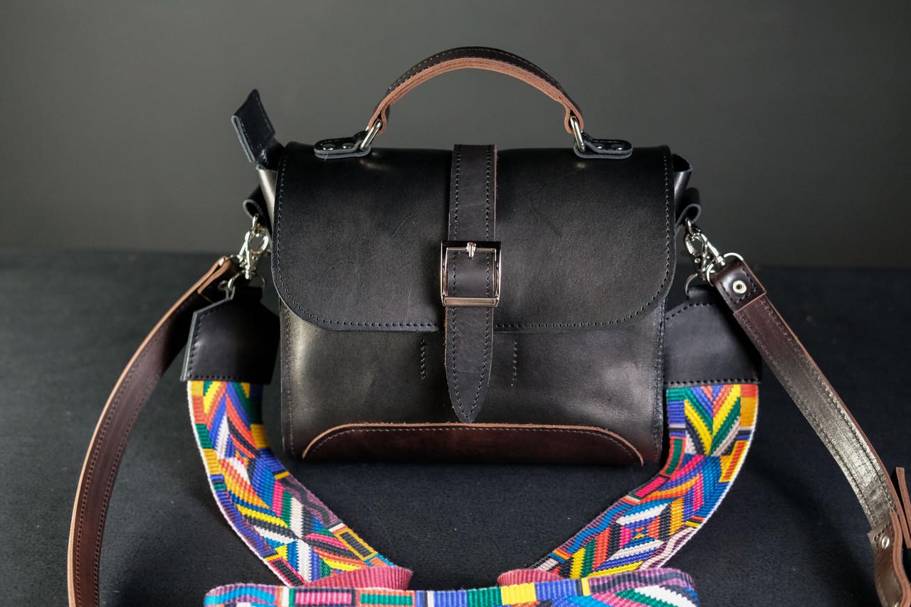 Сумка женская. Кожаная сумочка Марта Кожа Итальянский краст цвет Черный