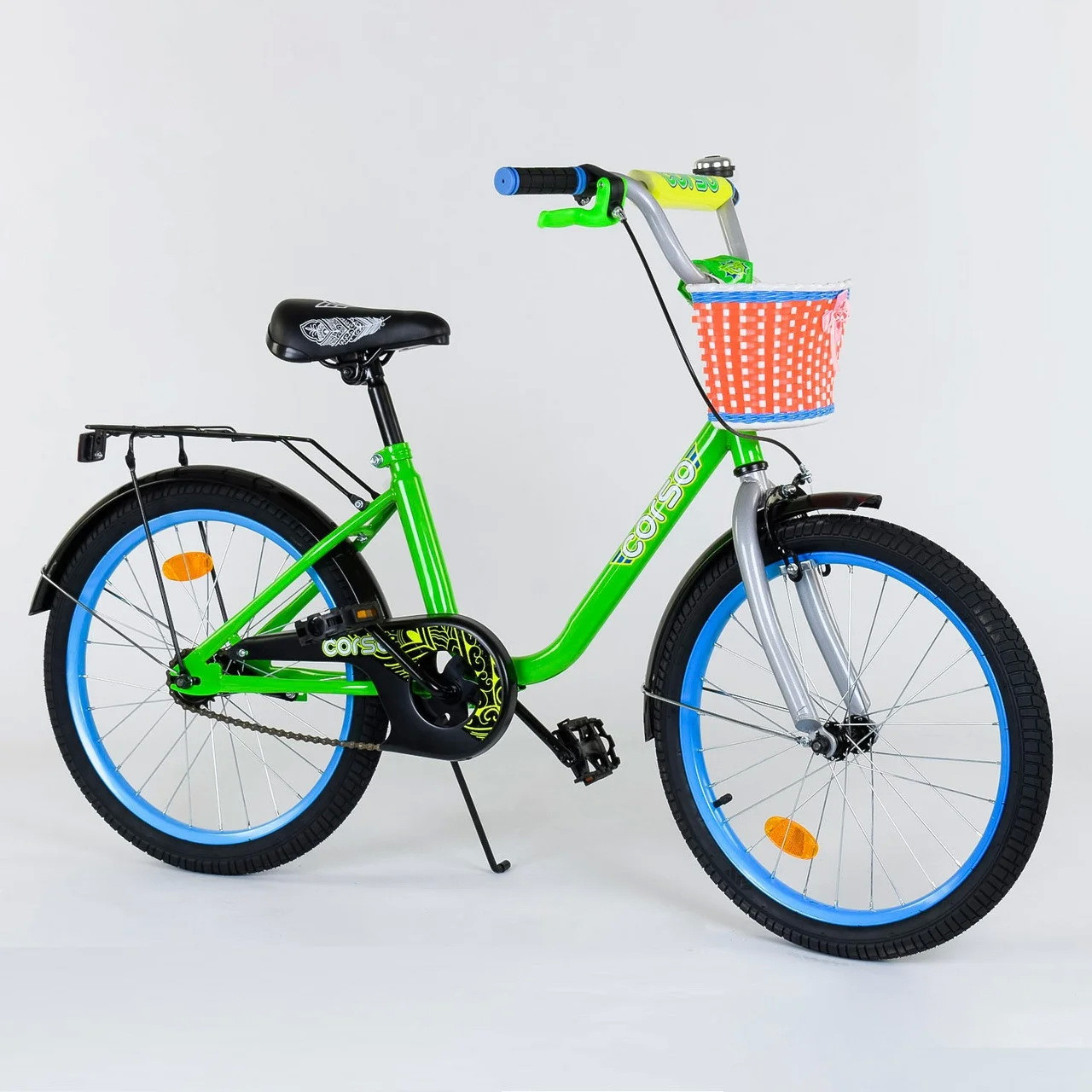 """Детский двухколесный велосипед 20"""" с ручным тормозом металлическими дисками и корзинкой Corso 2004 салатовый"""