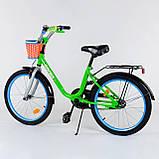 """Детский двухколесный велосипед 20"""" с ручным тормозом металлическими дисками и корзинкой Corso 2004 салатовый, фото 2"""