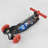 Детский трехколесный самокат Best Scooter 67261 Черный с красным, складной руль с фарой, фото 5