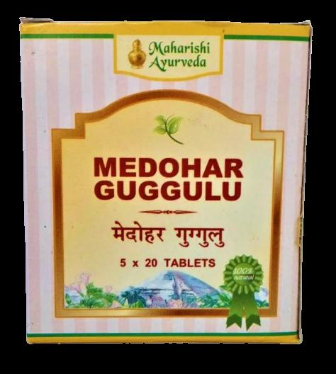 Медохар Гугул или Медари Гугу, контрол уровня холестерина, при избыточном весе, Medohar Guggulu 25gm (100tab)