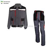 Костюм рабочий МУСТАНГ  (куртка + брюки ) серый с черным ( 100% хлопок )