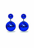 Серьги шары Dior синие металлик