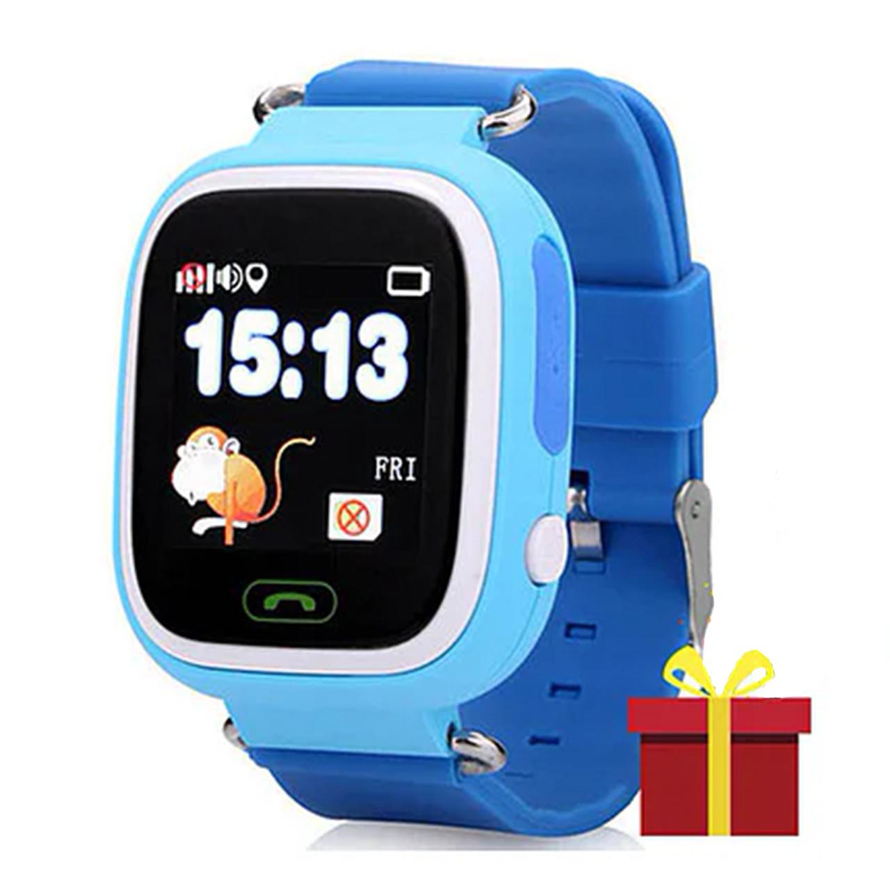 ✸Детские cмарт-часы UWatch Q90 Blue с функцией GPS\A-GPS трекера Wi-Fi сенсорный цветной экран Android IOS