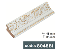 Багет дерев'яний роза біла з золотом