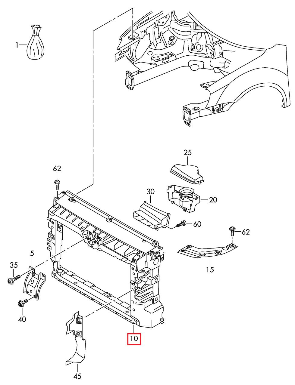"""Передняя панель (""""Телевизор"""") VW Passat B7 USA 2011-2015 под палку капота.     561805588B"""