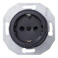 Розетка 1-я з заземлением Черная модуль Renova Schneider Electric, WDE011303