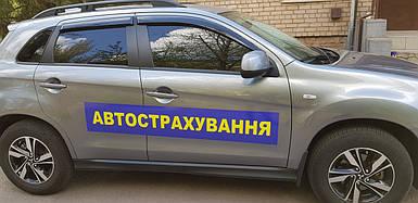 Наклейка страхования на авто, магнитная 15х100 см (в 4-х размерах)