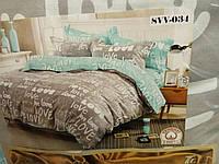 Хлопковый комплект постельного белья с принтом в темных тонах. 100% хлопок. полуторка, двухспалка, евро