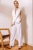 Однотонный льняной костюм 2цв. S-L.