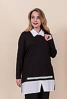 Женская блуза-рубашка черного цвета. Турция. Размеры 52, 54, 56, 58. Хмельницкий