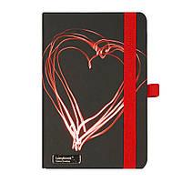 Записная книжка Night Light LanyBook, А6, белый блок в клетку, кожзам, черная