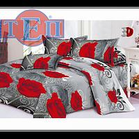 Качественное постельное белье ТЕП  RestLine 111  «Белла» 3D дешево от производителя. Да, Украина, розы, Полуторный, серый/красный