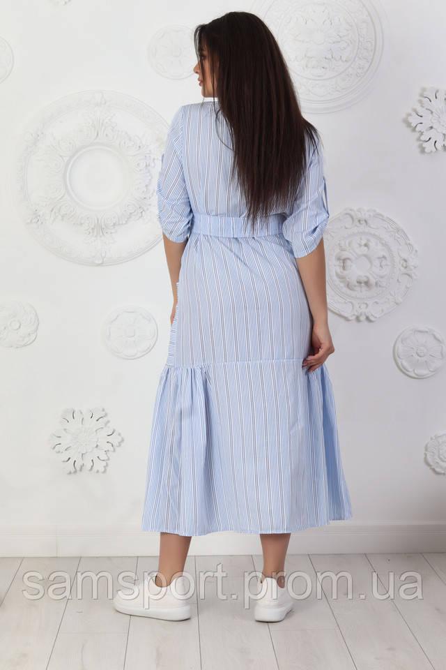Голубое Платье-рубашка в полоску, модные, комфортные молодежные платьяодежда Plus Size от 50до 56размера оптом.
