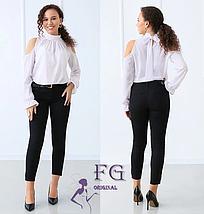 Женская прямая блуза с длинным рукавом и бантом черный, фото 2