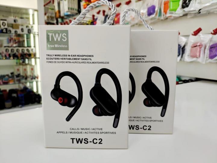 Наушники беспроводные спорт TWS-C2 Черные