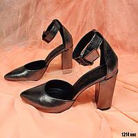 Кожаные женские закрытые босоножки на каблуке