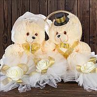 Свадебные мишки с кольцами, золотистые банты (арт. WB-1000)