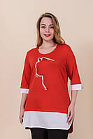 Женская летняя туника с принтом красного цвета. Турция. Размеры 52, 54, 56, 58. Хмельницкий, фото 1