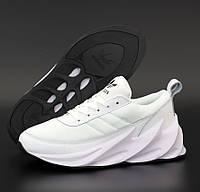 Женские кроссовки Adidas Shark белые с черным. Живое фото. Реплика