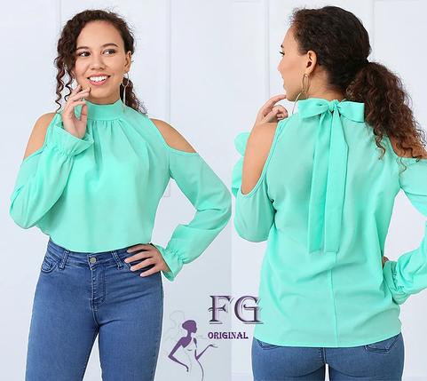 Яркая весення блуза с длинным рукавом свободная мятный, фото 2