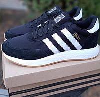 Женские кроссовки Adidas Iniki Runner черные. Живое фото. Реплика