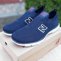 Мужские кроссовки New Balance летние в сетку легкие синие с белым 41-45р. Живое фото. Реплика