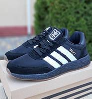 Мужские кроссовки Adidas Iniki Runner черные летние весенние. Живое фото. Реплика