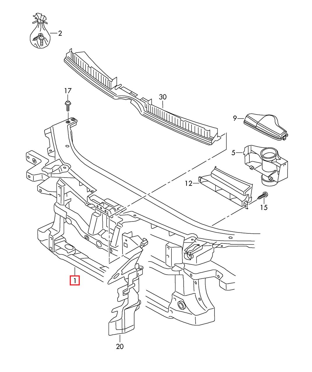 """Передняя панель (""""Телевизор"""") VW Passat CC 2009-2011 USA     3C8805588C     3C8805588A"""