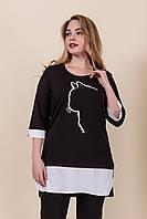 Женская летняя туника с принтом черного цвета. Турция. Размеры 52, 54, 56, 58. Хмельницкий, фото 1
