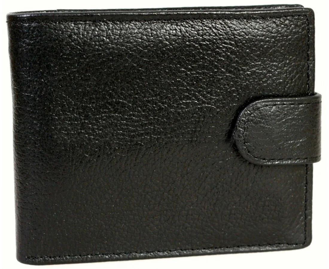 Мужской кошелек из натуральной кожи черный BR-S 1013609239